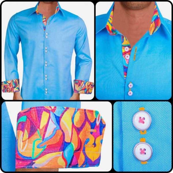 Blue-Artist-Painted-Dress-Shirts