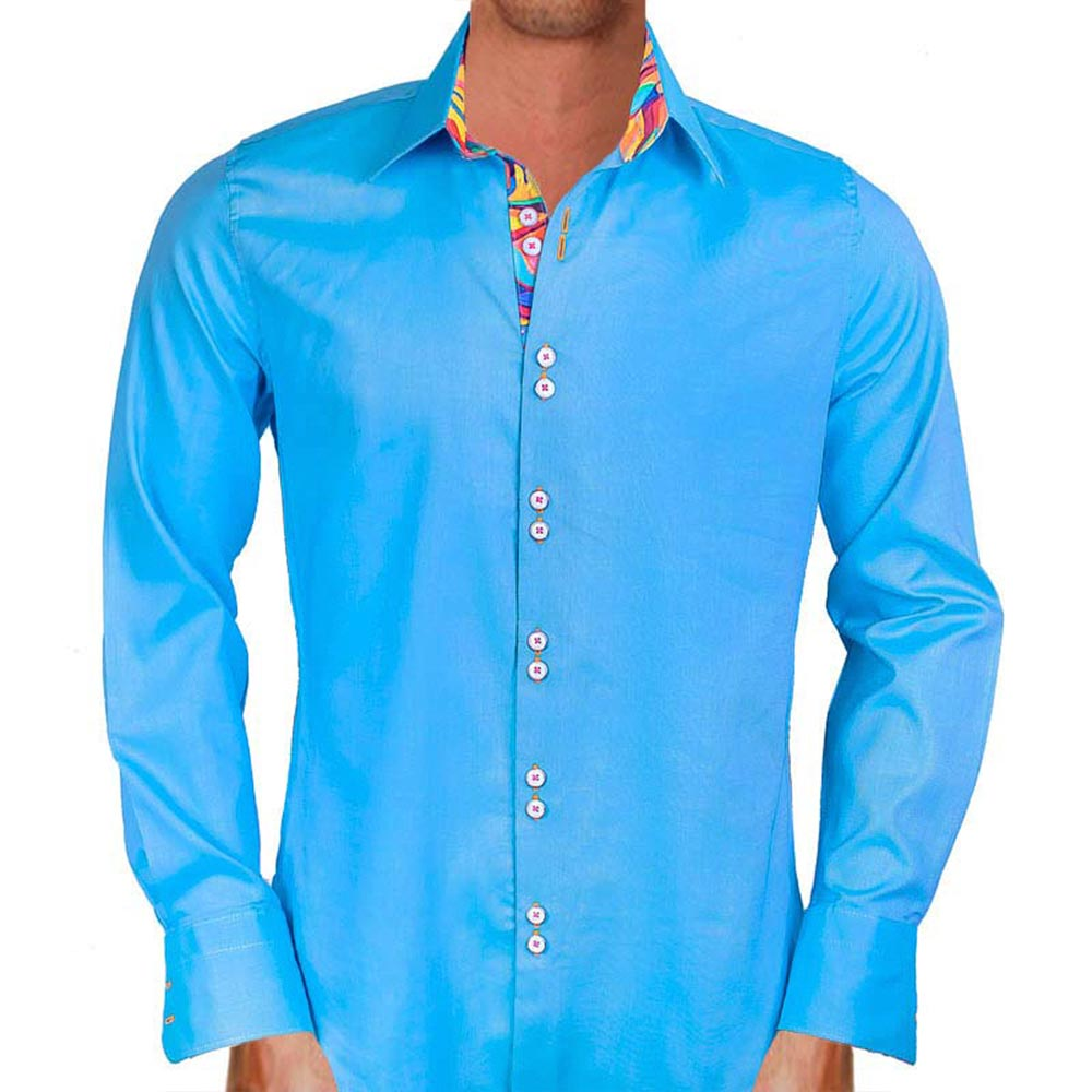 Kirkland Signature Men's Button Down Dress Shirt, Blue Traditional FitButton Down CollarWrinkle-FreeNon-IronAverage Sleeve Length.