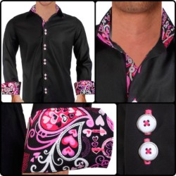 Black-with-Pink-Cuffs-Dress-Shirts