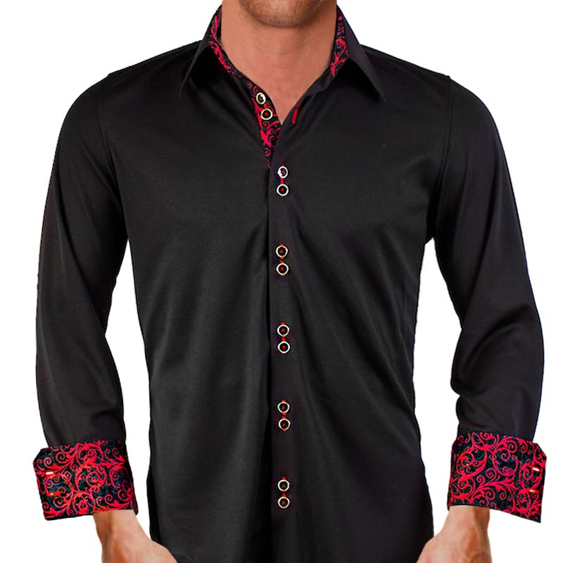 Black-with-Red-Paisely-Accent-Dress-Shirts