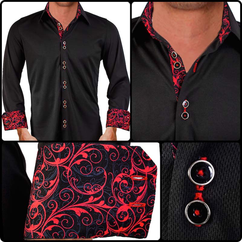 71014e74c3c4 Black-with-Red-Paisley-Dress-Shirts
