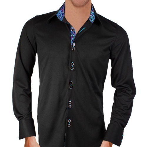 Black-with-Teal-Paisley-Dress-Shirts