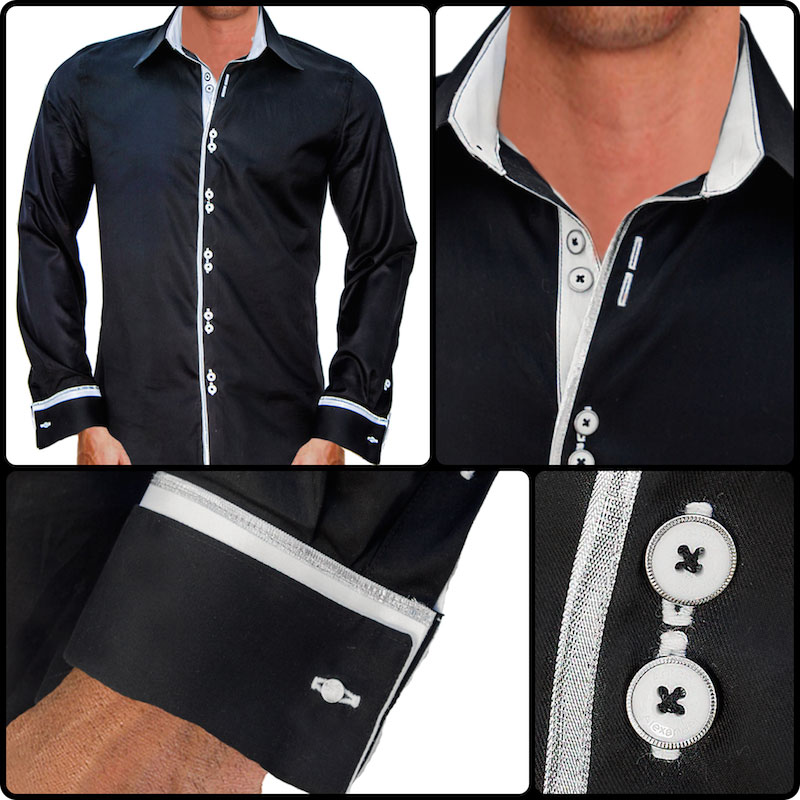 Black with white dress shirts for Mens white french cuff shirt