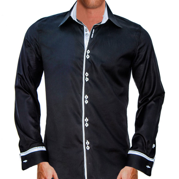 Black-with-White-French-Cuffs-Dress-Shirts