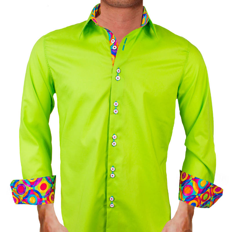 Mens lime green dress shirts for Neon green shirts for men