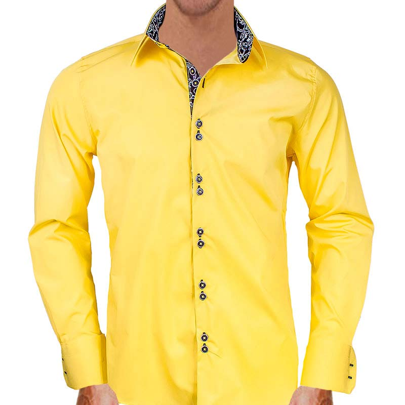 Yellow With Black Dress Shirts