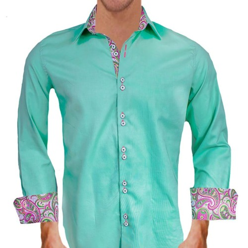 Green-with-Pink-Paisley-Accent-Dress-Shirts