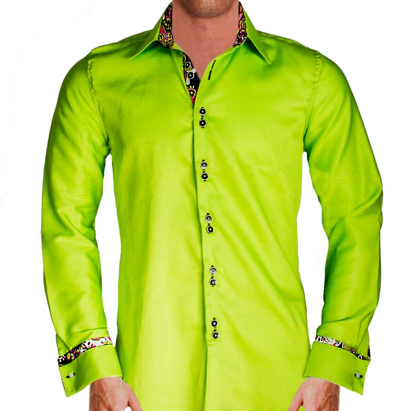 Lime green dress shirts for Neon green shirts for men