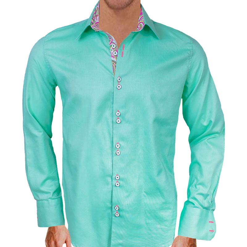 light green and pink dress shirts