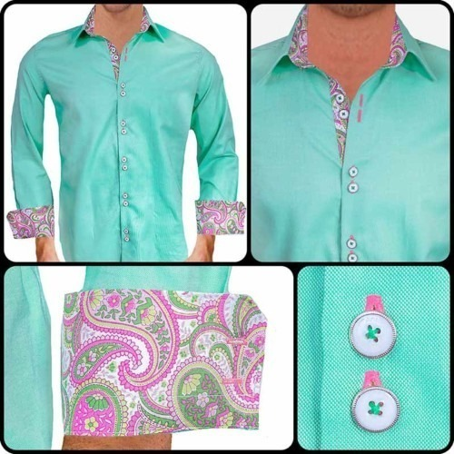Light-Green-with-Pink-Paisley-Accent-Dress-Shirts
