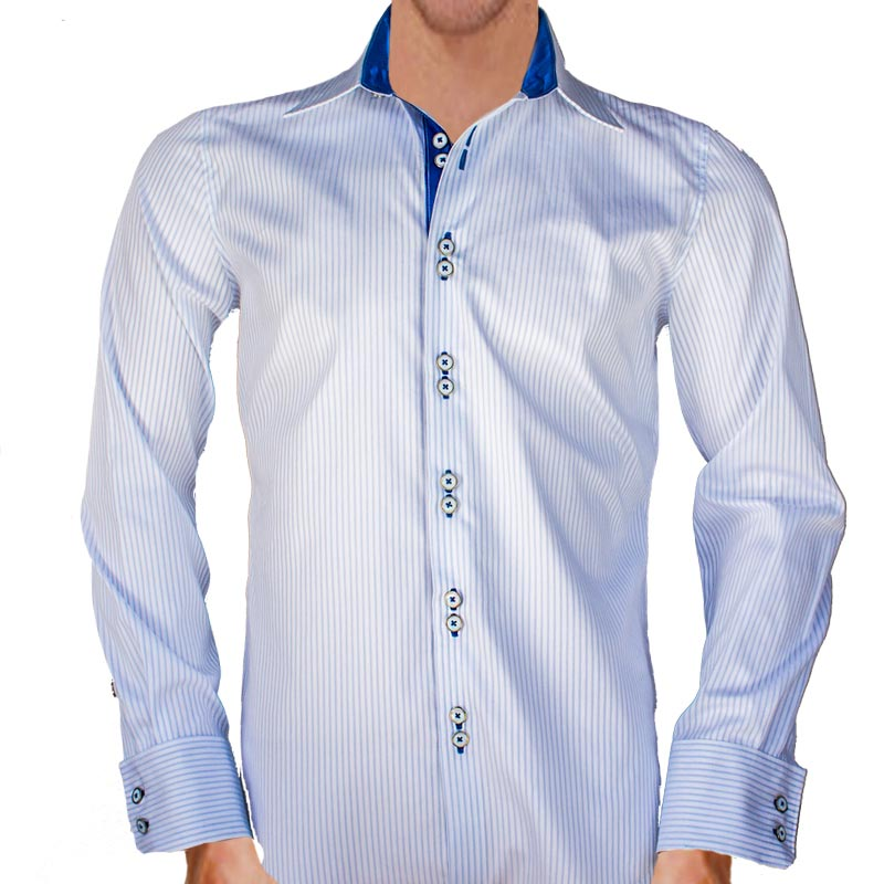 More Details Stefano Ricci Contrast Collar/Cuff Thin-Striped Dress Shirt, White/Blue Details Stefano Ricci dress shirt in thin stripes with contrast collar and cuffs, finished with piping detail. Point collar; French-placket button front. French cuffs (cuff links sold .