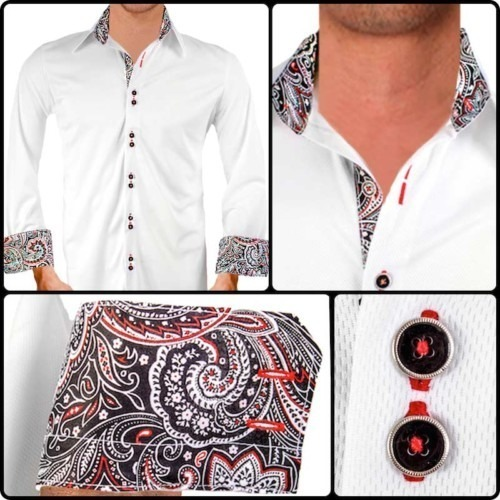 White-with-Black-Paisley-Dress-Shirts