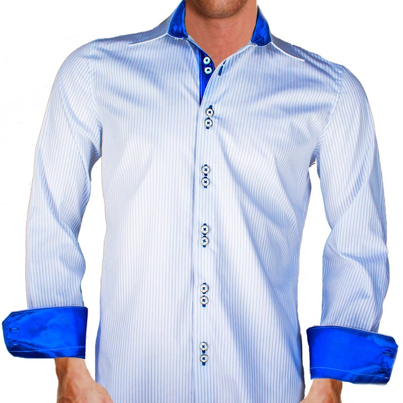 White blue striped shirts for Blue and white shirt mens