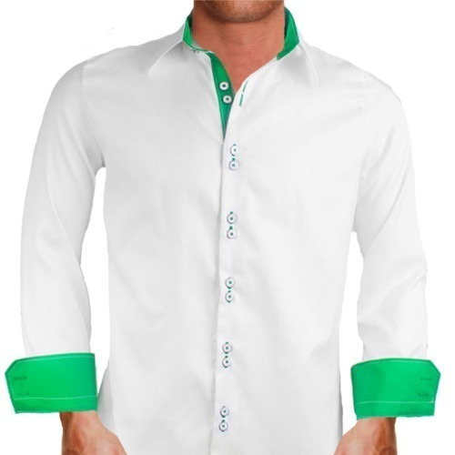 White and green dress shirts Emerald green mens dress shirt