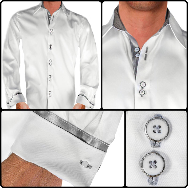 White and gray dress shirts for Mens dress shirts french cuffs