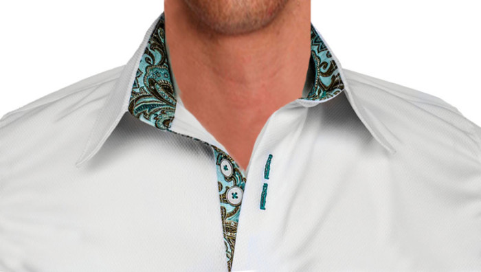 White-with-Teal-Paisley-Designer-Dress-Shirts