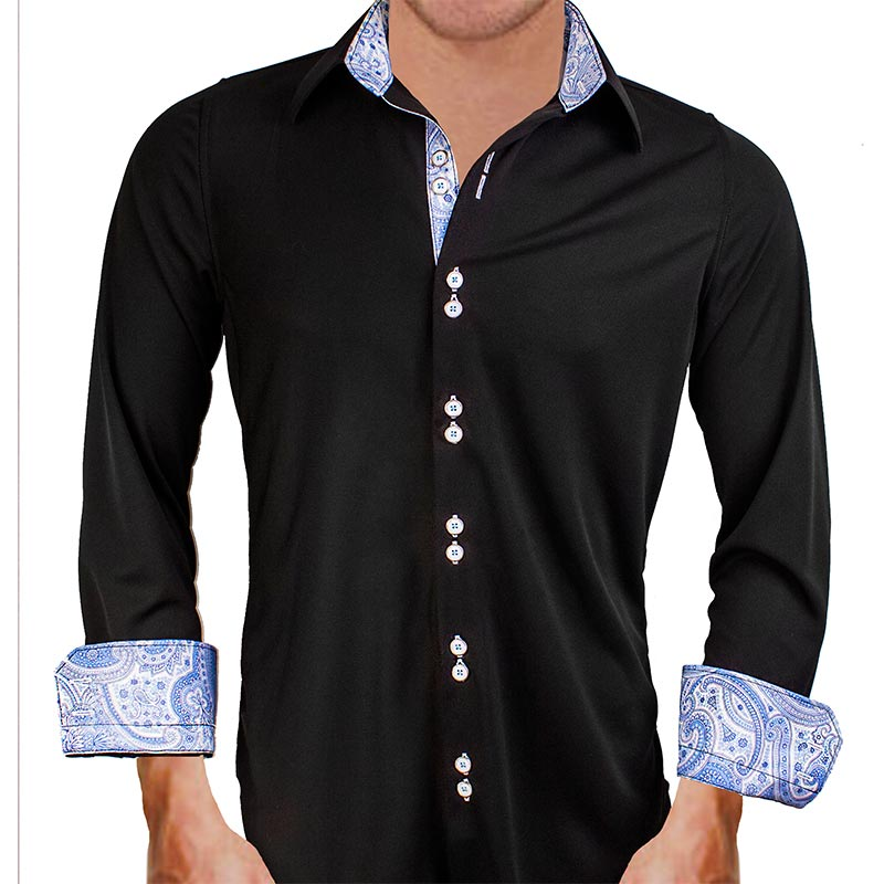 black with light blue paisley dress shirts