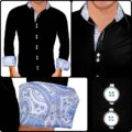 black-and-light-blue-dress-shirt