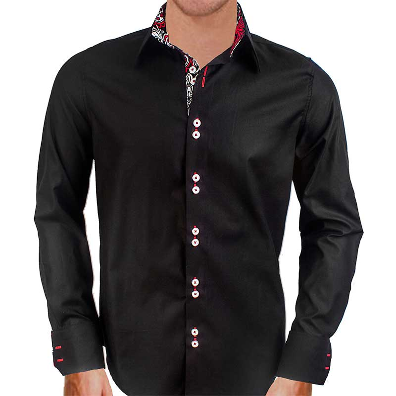 mens black designer dress shirts