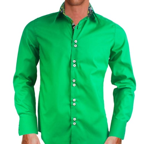 Bright green designer dress shirts for Neon green shirts for men
