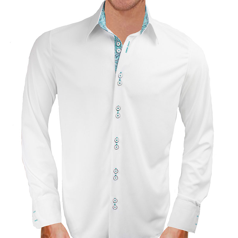 White with teal paisley dress shirts for White non iron dress shirts