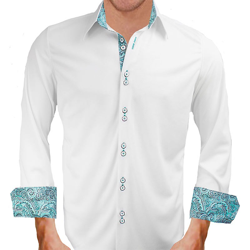 White With Teal Paisley Dress Shirts