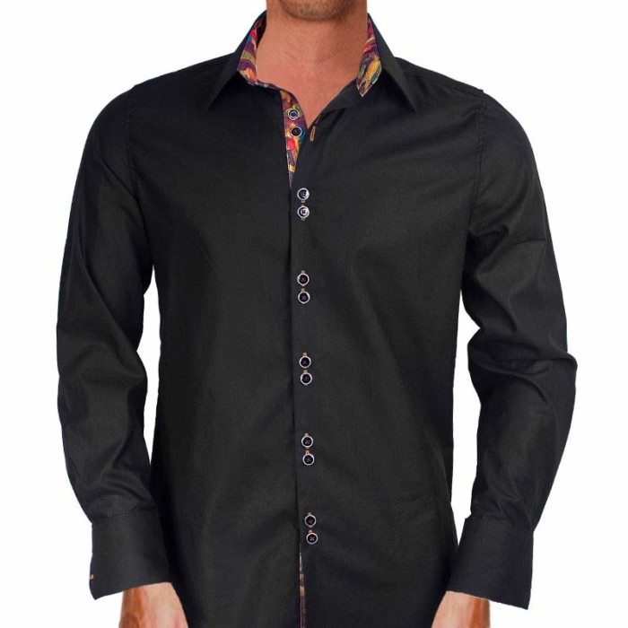 Black-with-multi-color-Dress-Shirts