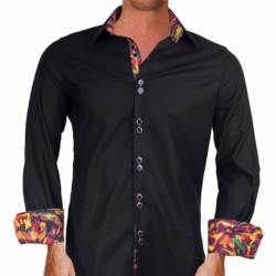 Black-with-multi-color-cuffs-Dress-Shirts