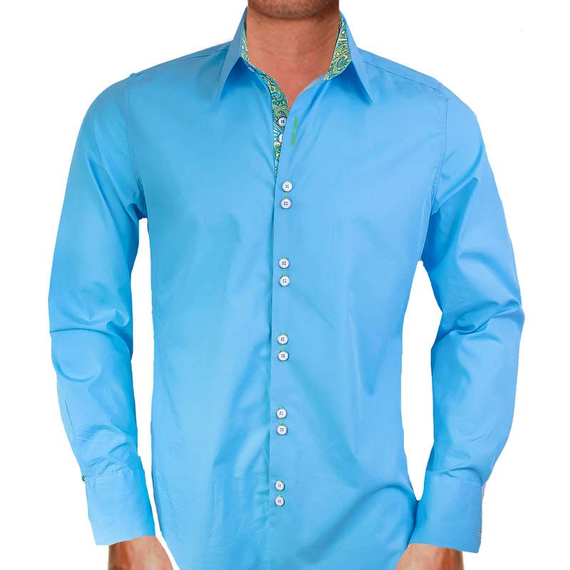 Light Blue with Green Dress Shirts