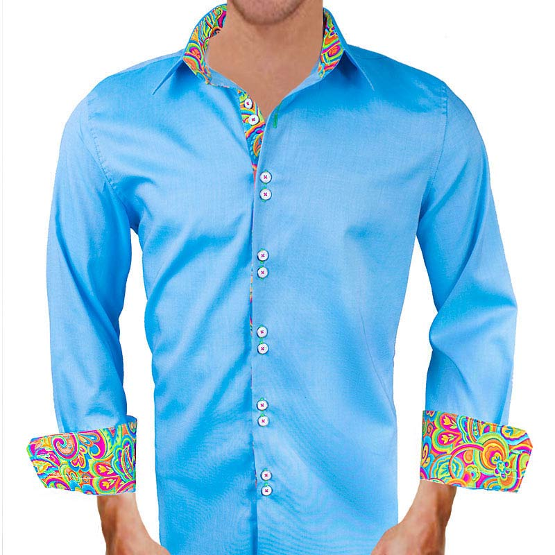 bright blue with multicolor dress shirts