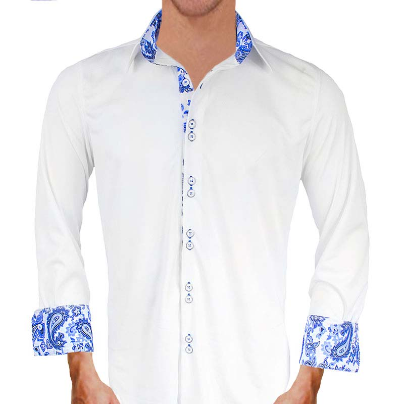 White with blue paisley dress shirts for White non iron dress shirts
