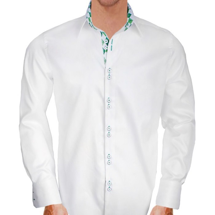 White-with-Green-Cuffs-Dress-Shirts