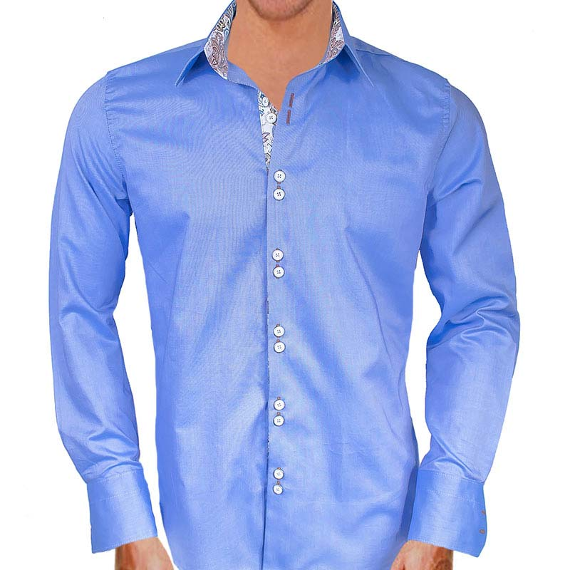Blue white and brown dress shirts for Blue and white shirt mens
