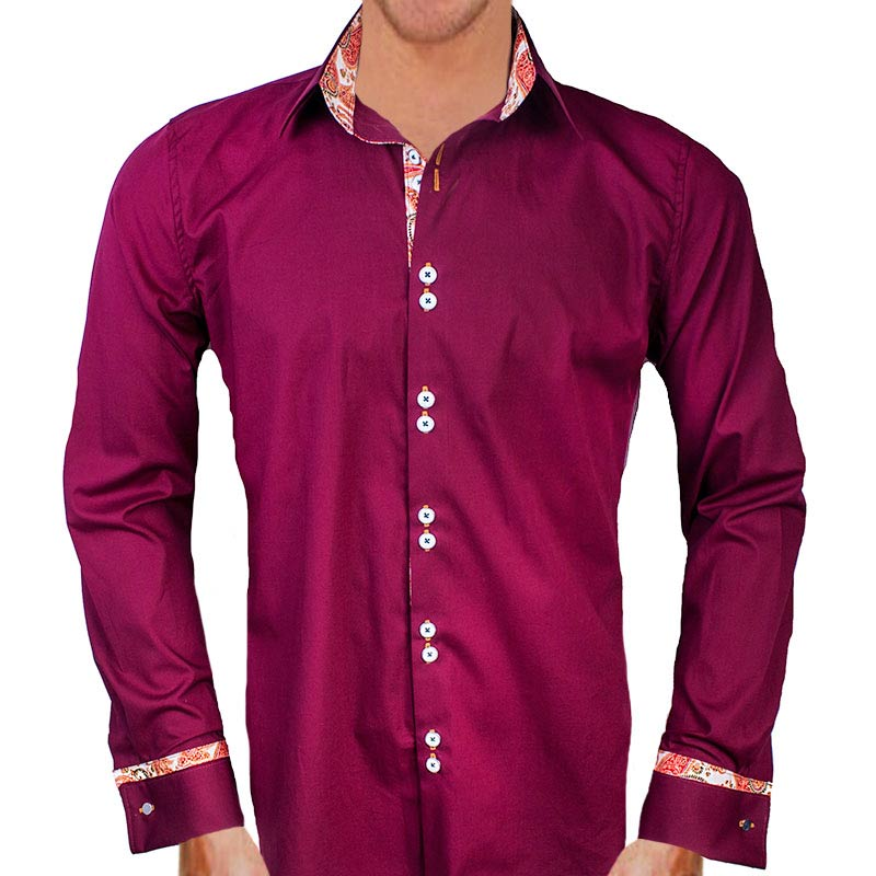 maroon with orange paisley dress shirts
