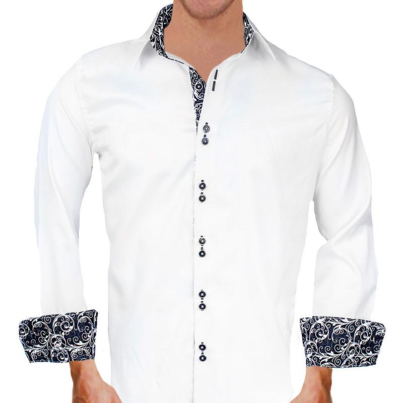 white with black paisley dress shirts