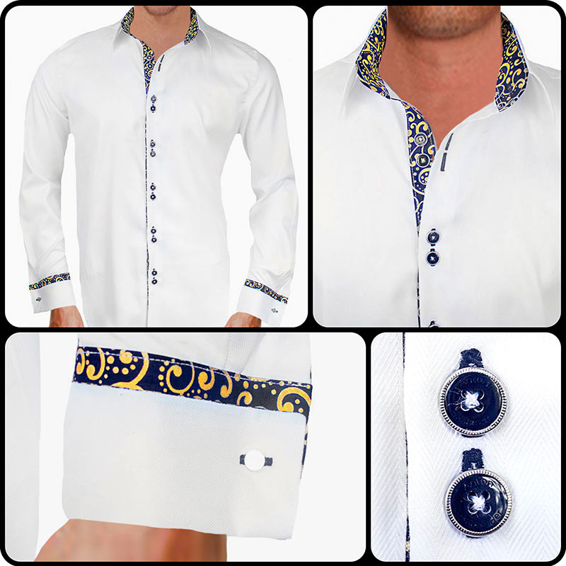 White with black and gold metallic dress shirts for Mens dress shirts french cuffs