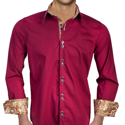 Maroon-with-Matallic-Dress-Shirt