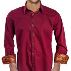 Maroon-with-Orange-Cuffs-Dress-Shirt
