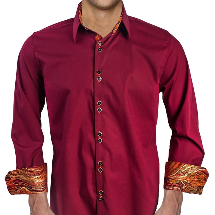 Maroon-with-Orange-Cuffs-Dress-Shirt