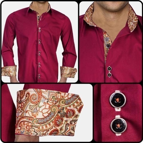 Maroon-with-Tan-Cuffs-Dress-Shirts