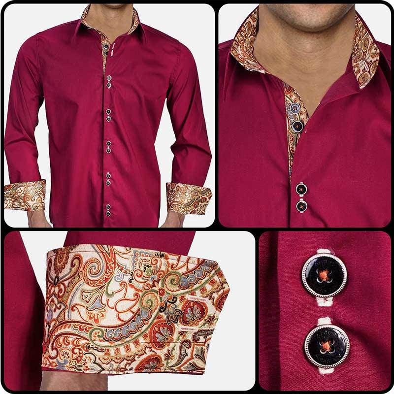 Maroon-with-Tan-Cuffs-Dress-Shirts