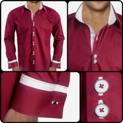 Maroon-with-White-Cuffs-Dress-Shirts