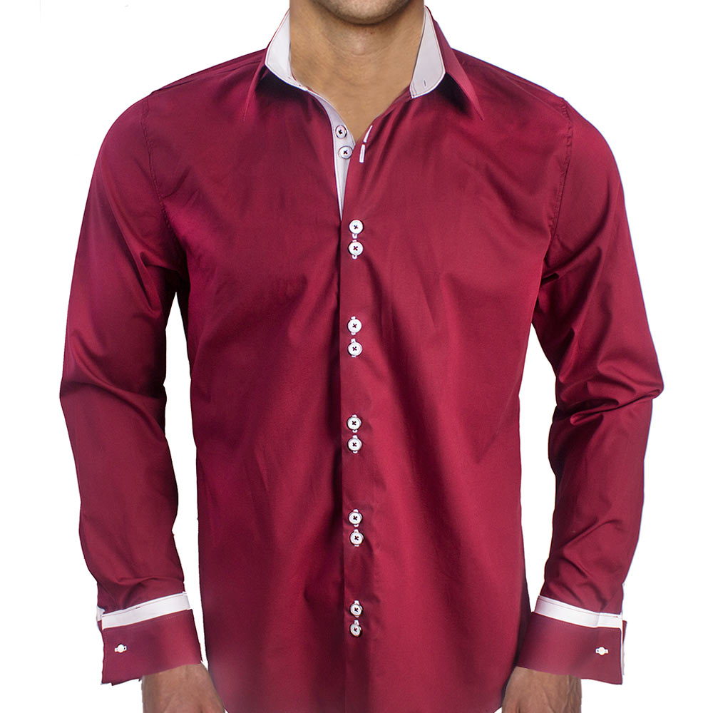 Maroon with white french cuffs dress shirts for Cuff shirts for men