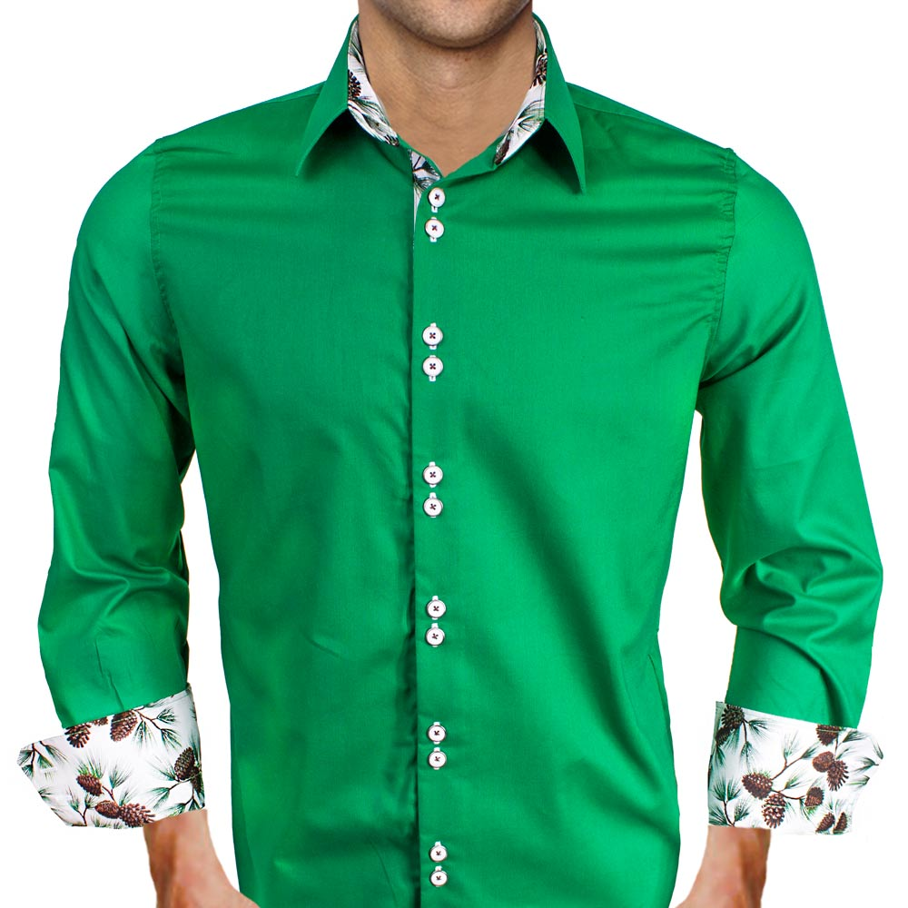 Mens Green Holiday Dress Shirts