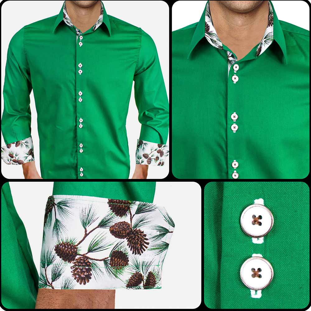 Mens-Green-Holiday-Dress-Shirts