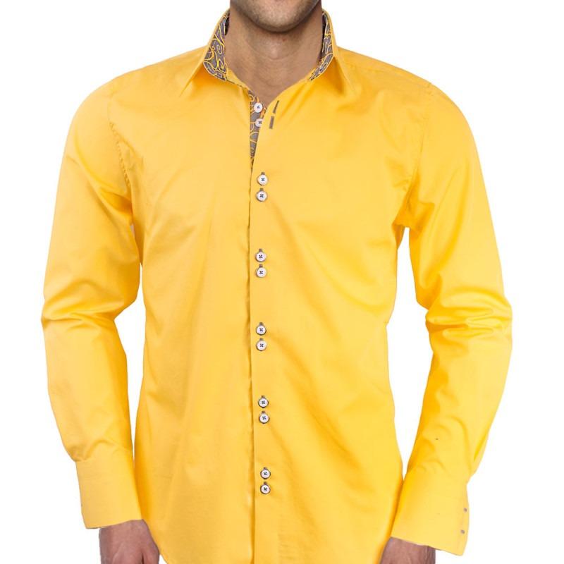 Bright-Yellow-with-Grey-Mens-Dress-Shirts