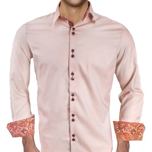 Tan-with-Maroon-Cuffs-Dress-Shirts