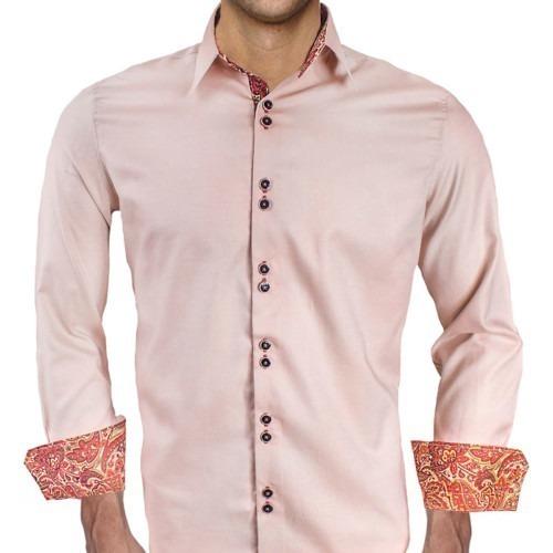 Tan-with-Maroon-Cuffs-Dress-Shirts