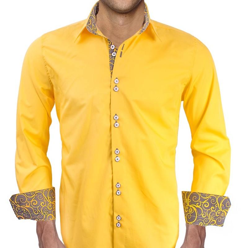 Yellow-with-Grey-Cuffs-Dress-Shirts