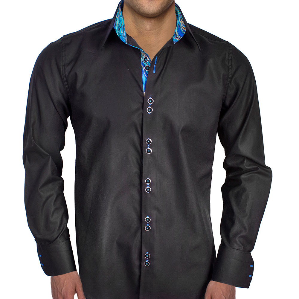 black with blue contrast dress shirts